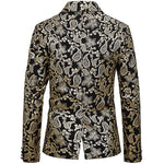 Gold Slim Fit Paisley Gilding Casual Blazer