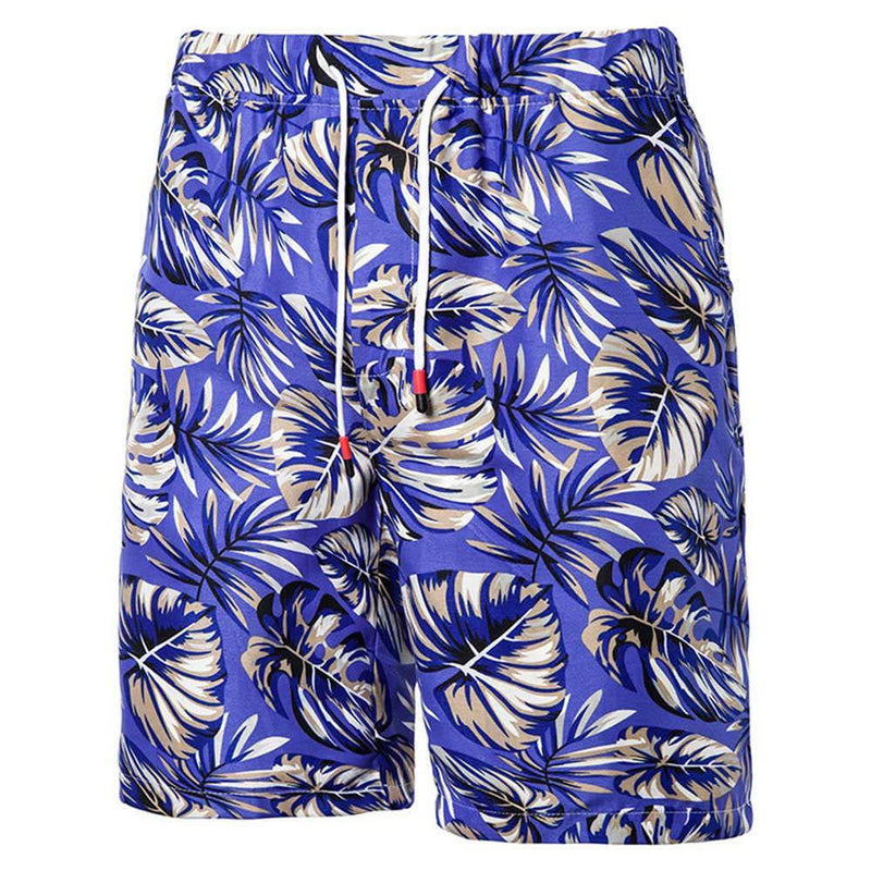Relaxed Fit Leaf Print Shorts Blue