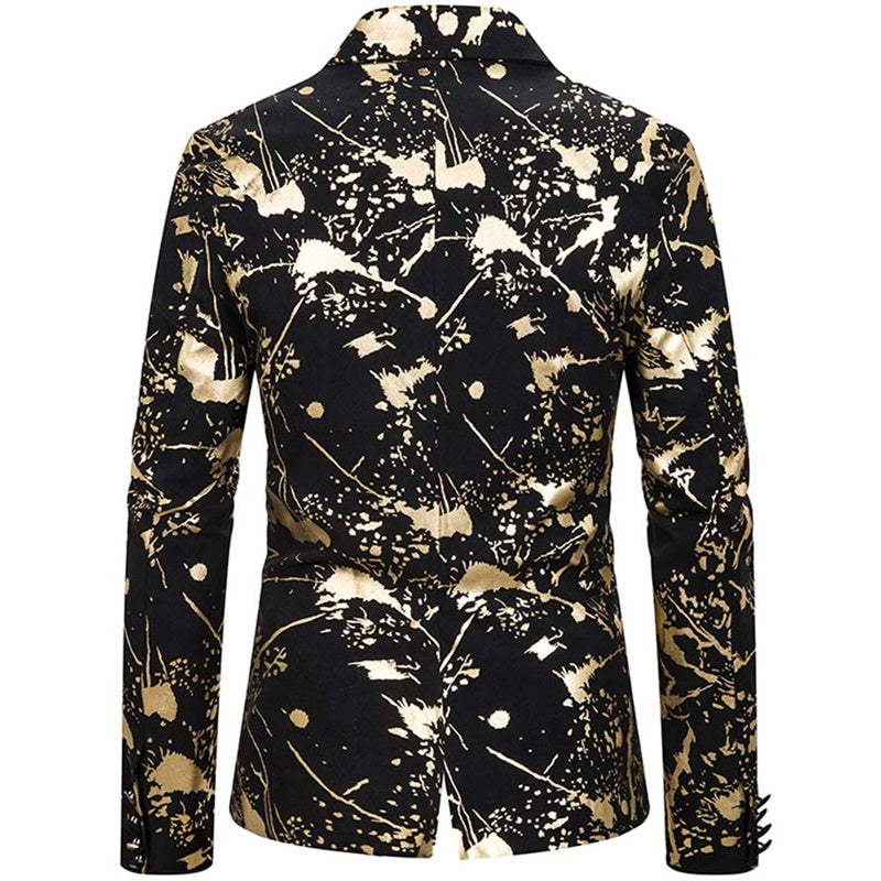 Slim Fit Ink Jet Gilding Gold Blazer