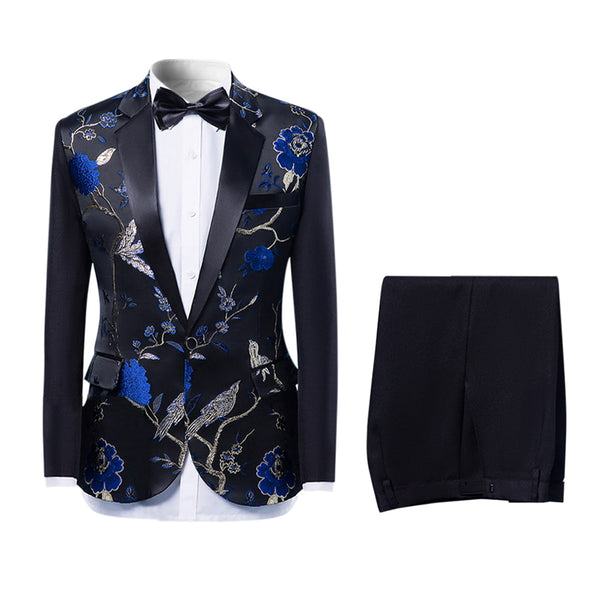 2-Piece Slim Fit Embroidered Floral Suit 3 Colors