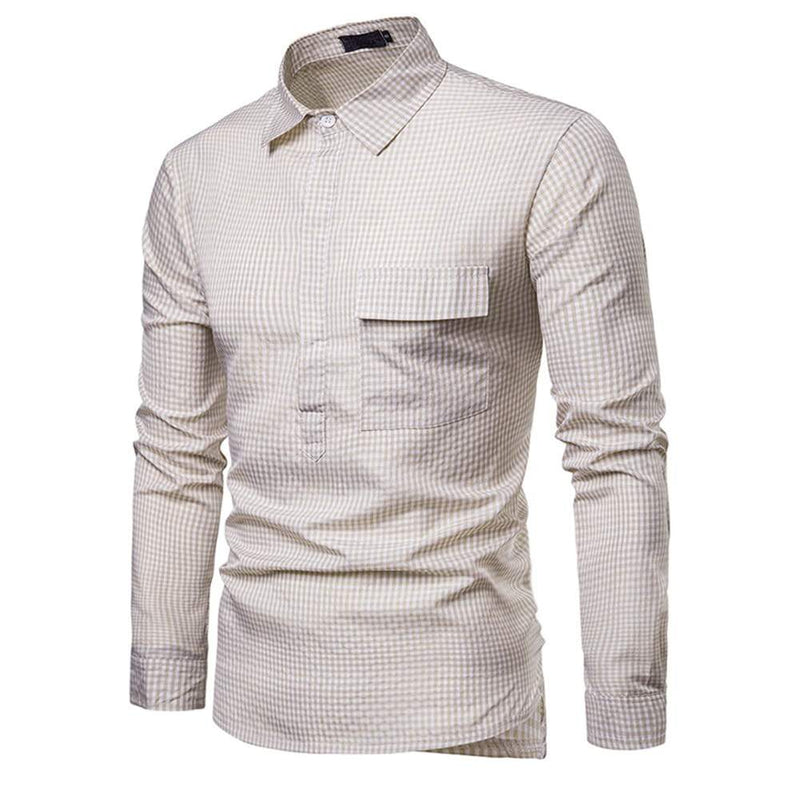 Slim Fit Pin Check Pullover Shirt Beige