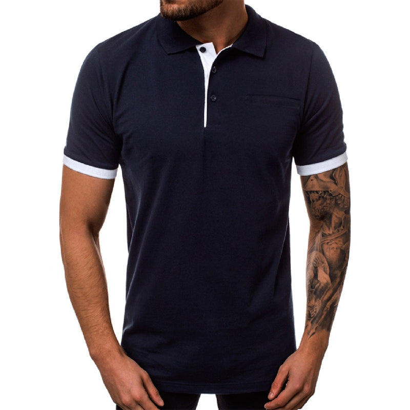 Blue vs Navy Polo Shirt Button Closure Polos