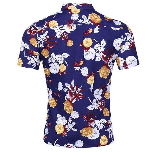 Slim Fit Floral Printed Shirt Yellow