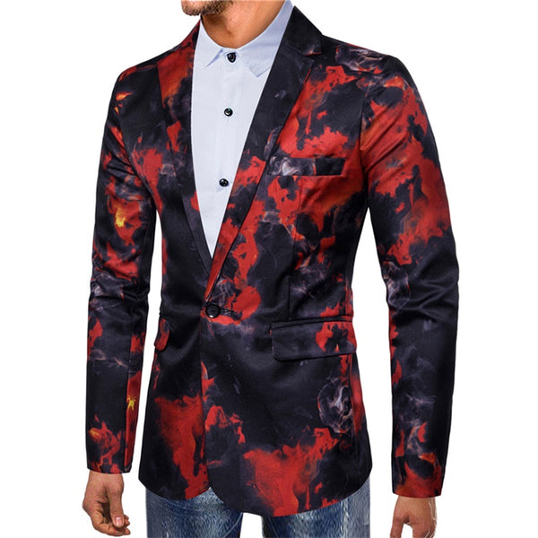 Slim Fit Red Flame Printed Blazer
