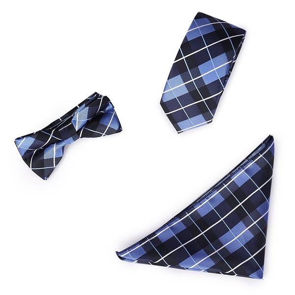 3-Piece Plaid Formal Tie Set 2 Colors