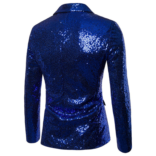 Blue Shiny Sequin Jacket Party Tuxedo Blazer