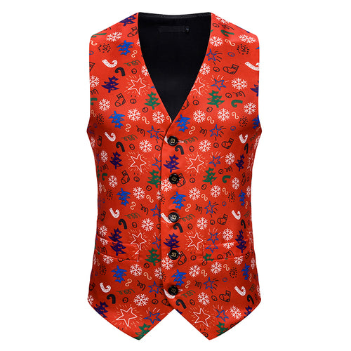 Slim Fit Christmas Print Vest Red