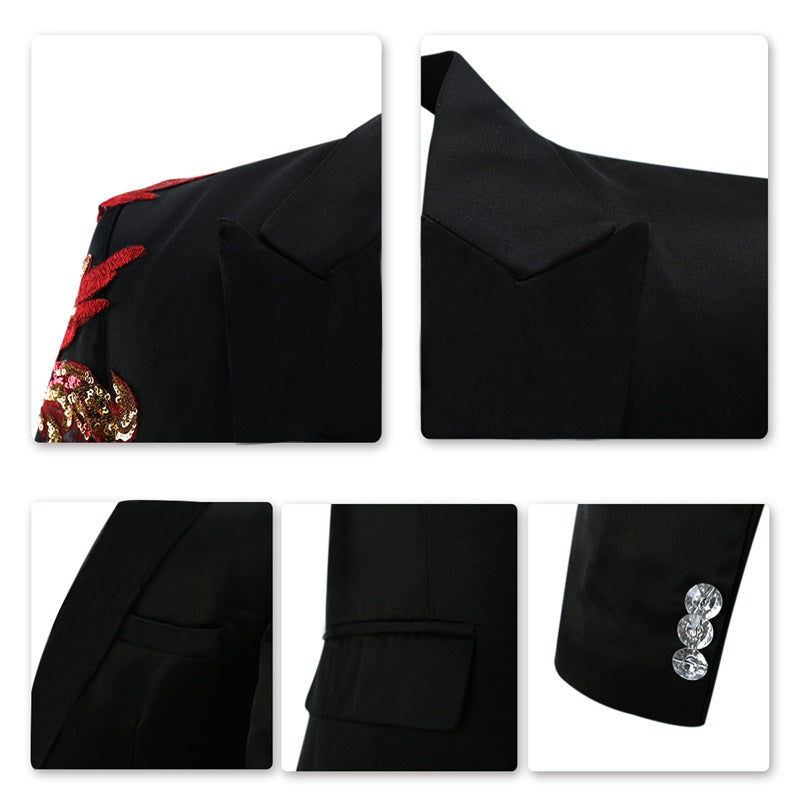 Slim Fit 2-Piece Black Suit Applique Decorated