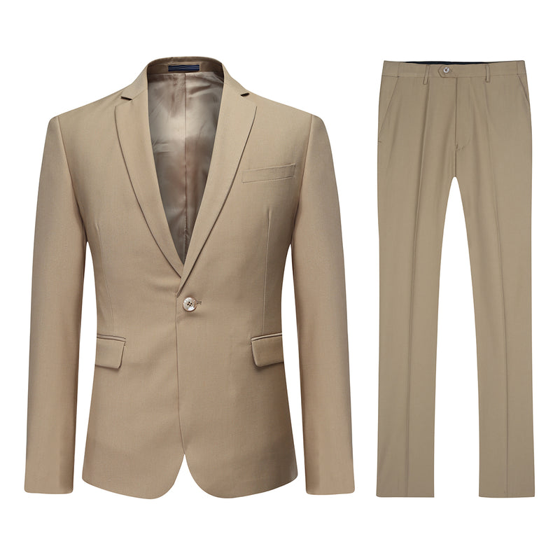 Two Piece Khaki Suit One Button Suit