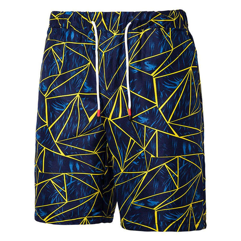 Relaxed Fit Geometric Style Beach Shorts Navy