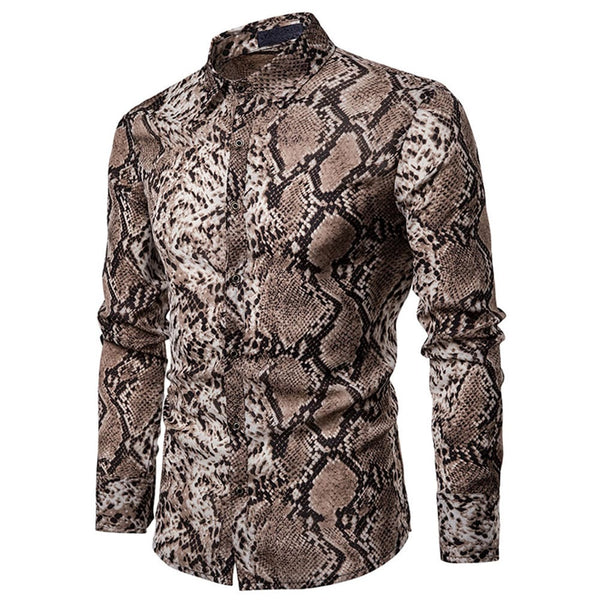 Slim Fit Snakeskin Print Brown Shirt