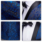 2-Piece Print Suit Slim Fit Paisley Blue Suit