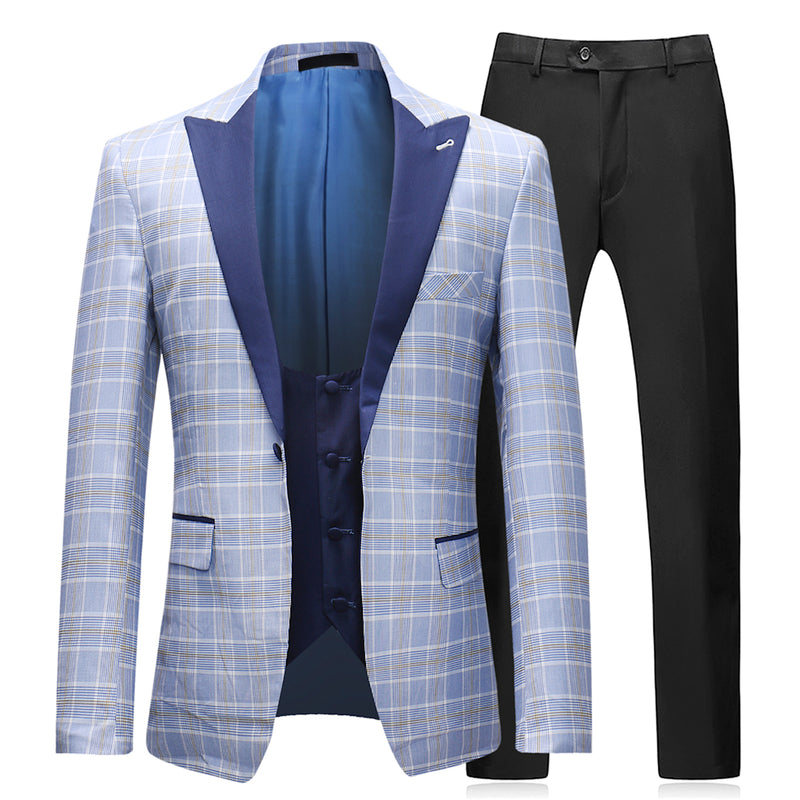 3-Piece Slim Fit Plaid Suit LightBlue - Cloudstyle