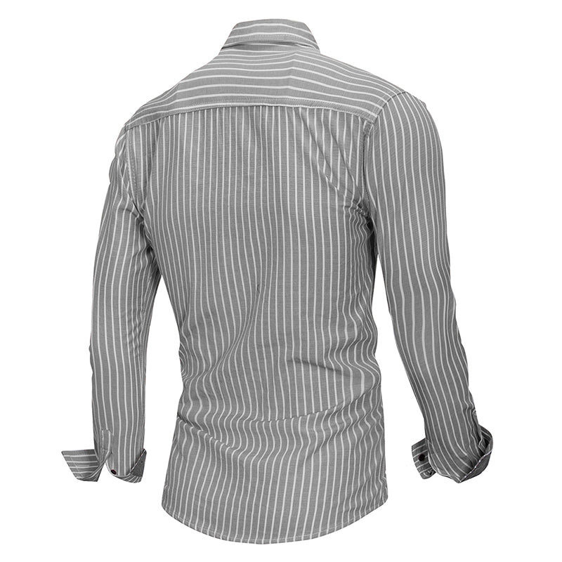 Slim Fit Stripe Cotton Shirt Grey
