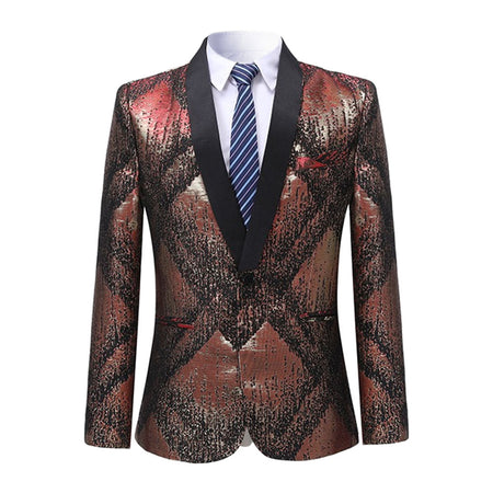 Slim Fit Geometric Blazer 2 Colors