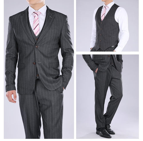 Three Piece Titanium Silver Suit Stripe Design Suit
