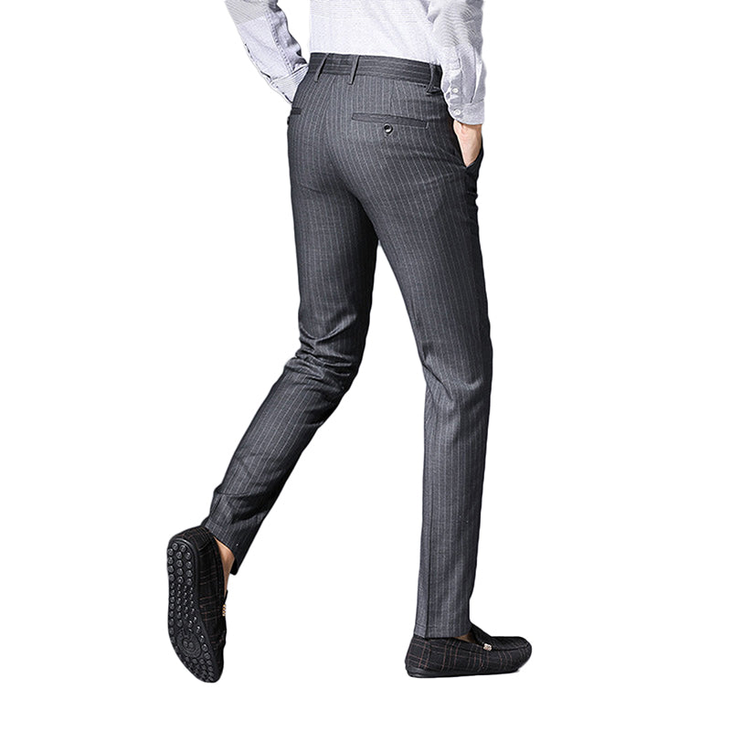 Grey Pinstripe Flat Front Suit Pants
