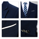 3-Piece Slim Fit Suit Casual Navy Suit