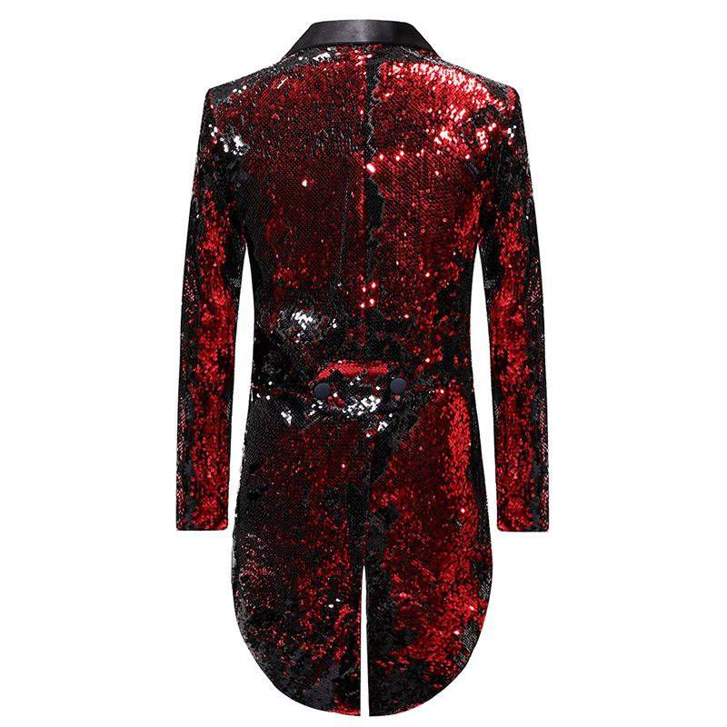 Maroon Reversible Sequin Swallowtail Blazer