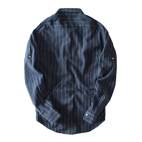 Navy Regular Fit Stripe Linen Casual Shirt