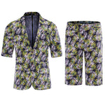 Palm Leaf Print Shirt And Shorts Summer Suits
