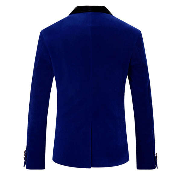 Slim Fit One Button Casual Blue Blazer