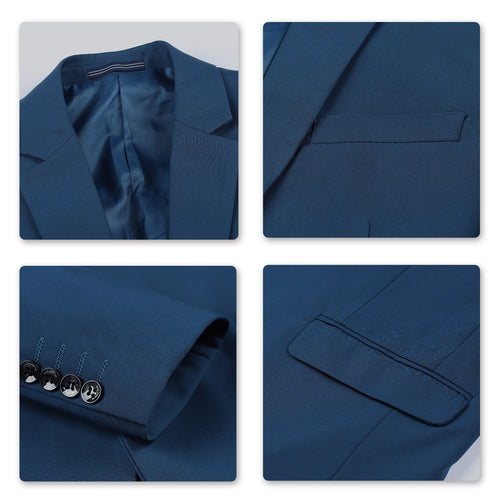 Two Piece Blue Suit One Button Suit
