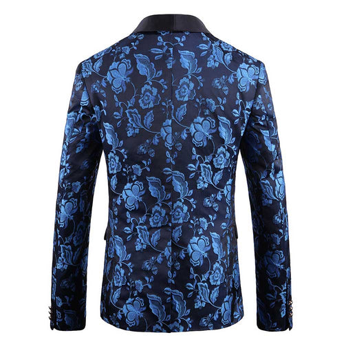 Slim Fit Casual Jacquard Blue Blazer