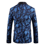 Jacquard Blue Suit 2-Piece Casual Suit