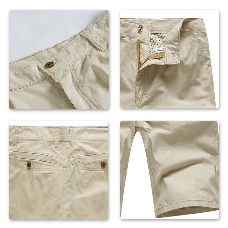 Loose Fit Beige Summer Straight Shorts