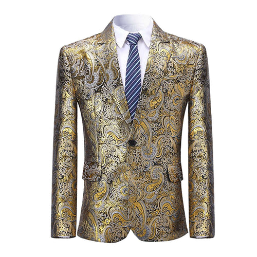 Slim Fit Paisley Shiny Blazer Gold