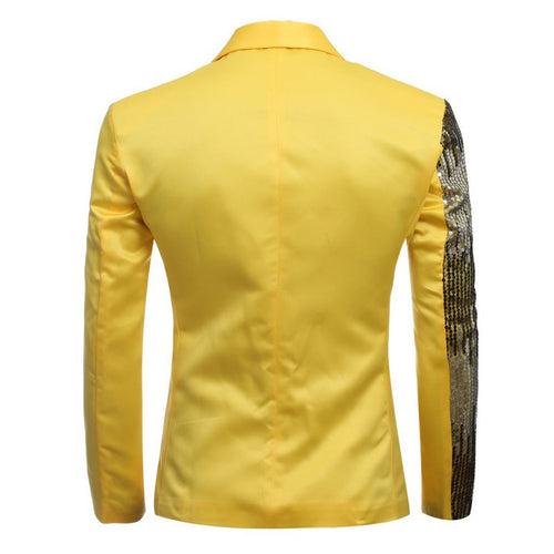 2-Piece Slim Fit Half Sequin Suit Yellow