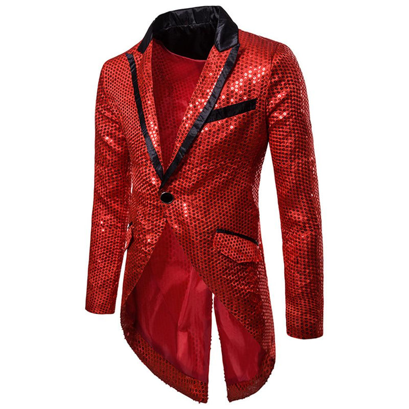 Red Sequin Decorated Swallowtail Coat