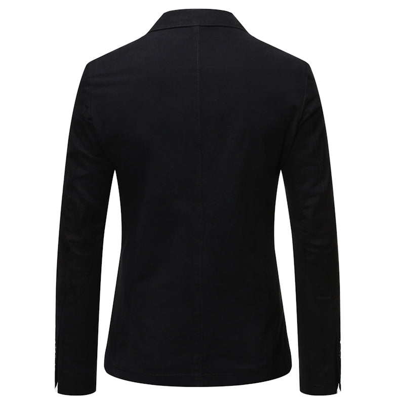 Black Two-Button Solid Color Jacket