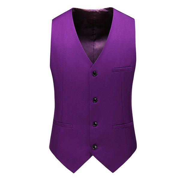 Slim Fit Single-Breasted Casual Vest Indigo