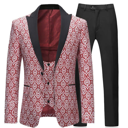 3-Piece Slim Fit Paisley Suit Maroon