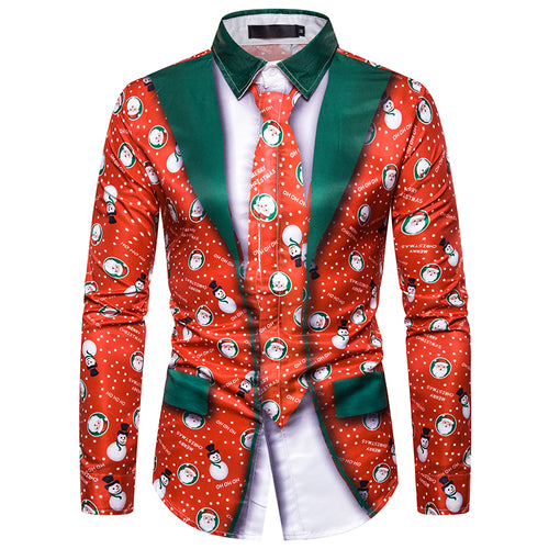 Slim Fit Christmas Print Shirt 3 Colors