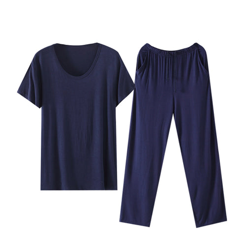 T-Shirt & Trousers Solid-Colored Thin Pajama Set 4 Colors