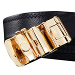 Lychee Grain Belt Men's Genuine Leather Belt Gold & Silver