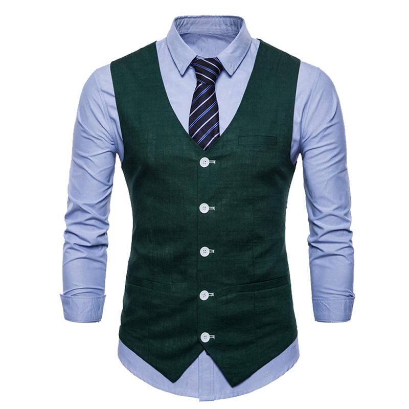 Slim Fit Skinny Dress Vest DarkGreen