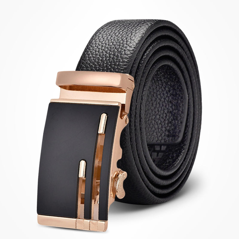 Easy Customize Lychee Grain Leather Belt Silver & Gold