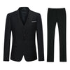 3-Piece Classic One Button Marron Black Suit