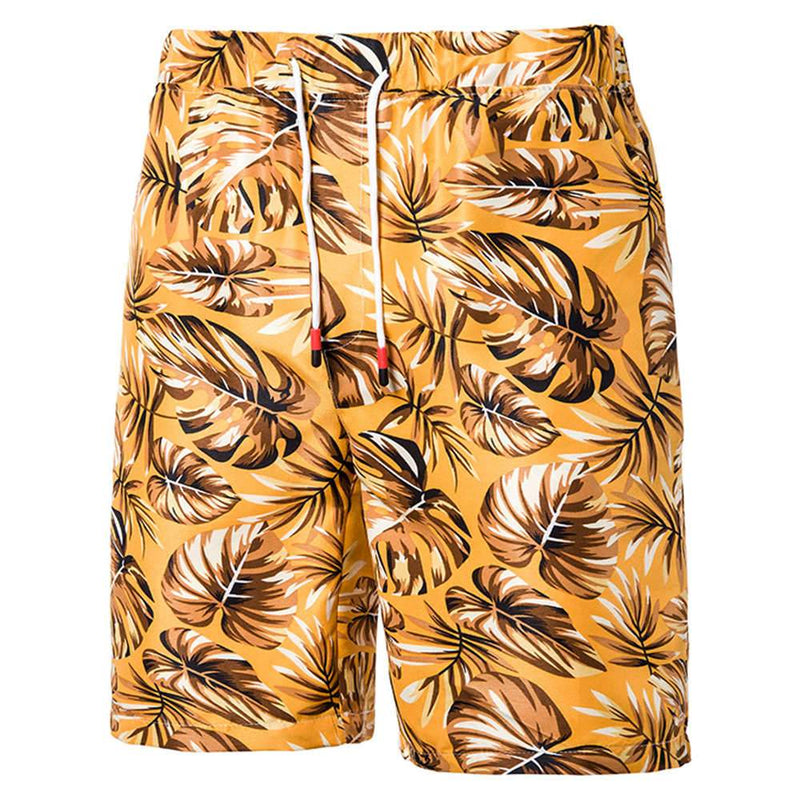 Relaxed Fit Leaf Print Shorts Yellow