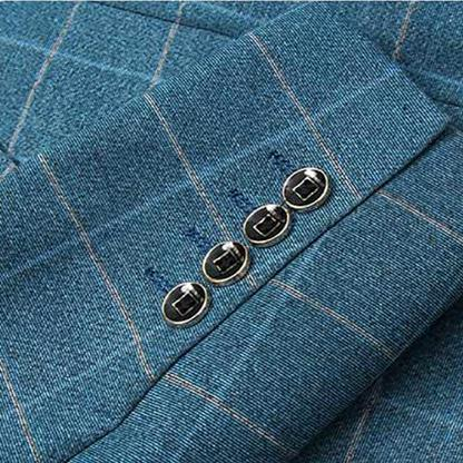 3-Piece Slim Fit Blue Plaid Modern Suit