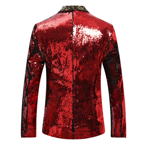 Red & Black Shawl Collar Sequins Dance Party Jacket