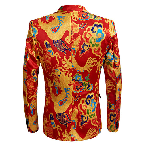 2-Piece Pattern Print OrangeRed Suit