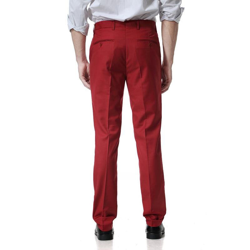 Red Relaxed Flat Front Straight-Fit Suit Dress Pant