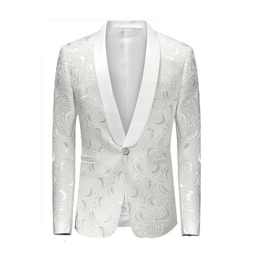 Slim Fit Wedding Paisley Blazer White