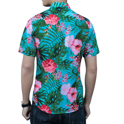 Slim Fit Floral Printed Shirt Red