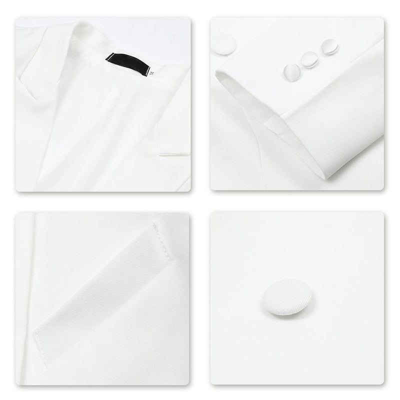 White Swallowtailed Dinner Suit 3-Piece Slim Fit Suit